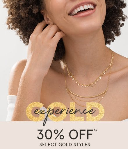 30% Off Select Gold Styles from Zales Jewelers