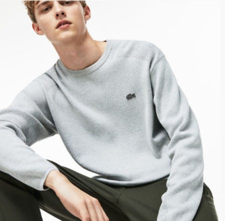 Men's Motion Crew Neck Coolmax Cotton Sweater from Lacoste