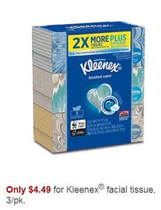 Only $4.49 for Kleenex Facial Tissue 3/pk