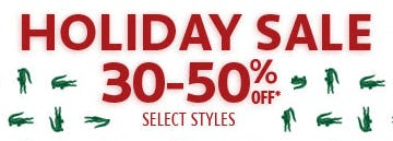 Holiday Sale: 30-50% Off from Lacoste