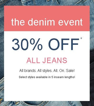 The Denim Event: 30% Off All Jeans