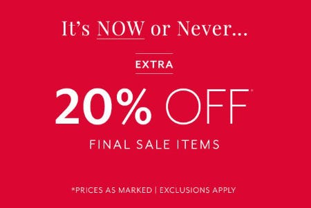 Extra 20% Off Final Sale Items from White House Black Market