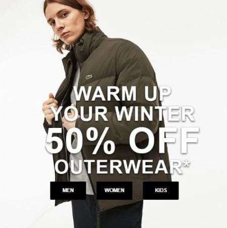 50% Off Outerwear from Lacoste