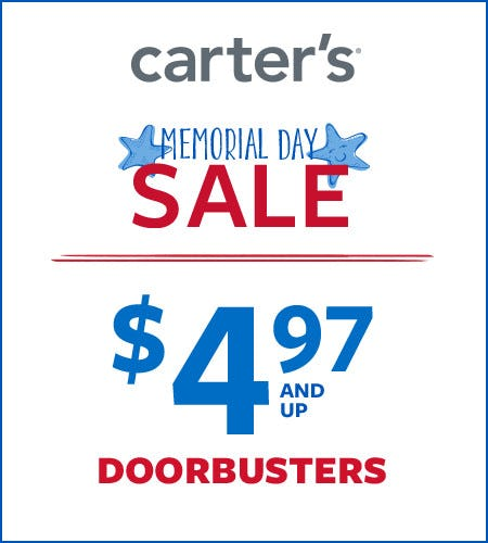 Memorial Day Sale $4.97 and Up Doorbusters* from Carter's