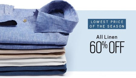 All Linen 60% Off from Men's Wearhouse and Tux