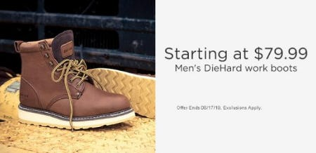 Men's DieHard Work Boots Starting at $79.99 from Sears