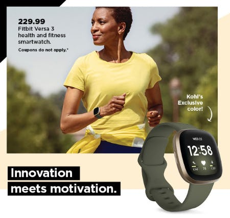 $229.99 Fitbit Versa 3 Health and Fitness Smartwatch from Kohl's