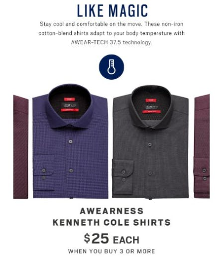 Awearness Kenneth Cole Shirts $25 Each when you Buy 3 or More from Men's Wearhouse