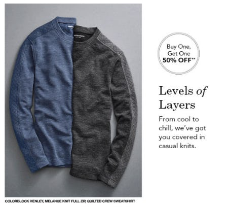 BOGO 50% Off Men's Sweaters & Pullovers from JOHNSTON & MURPHY
