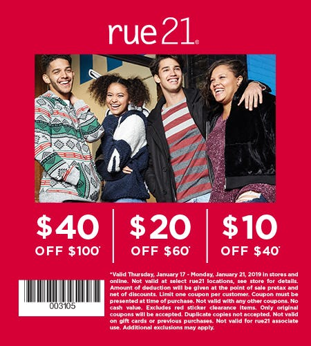 $10 OFF $40 PURCHASE from rue21