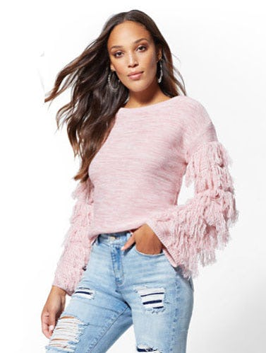 Fringe-Sleeve Sweater from New York & Company