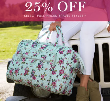 25% Off Select Full-Priced Travel Styles from Vera Bradley