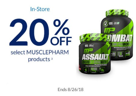 20% Off Select MusclePharm Products from The Vitamin Shoppe