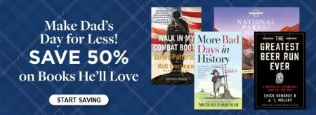 50% Off on All Books He'll Love from Books-A-Million