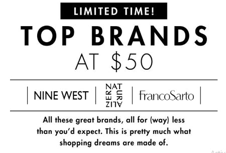 Tops Brands at $50 from DSW Shoes