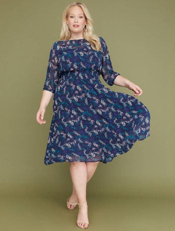Printed Chiffon Fit & Flare Midi Dress from Lane Bryant