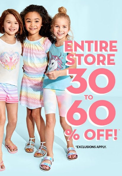 85eb48ee53451 Entire Store 30 to 60% Off from The Children s Place