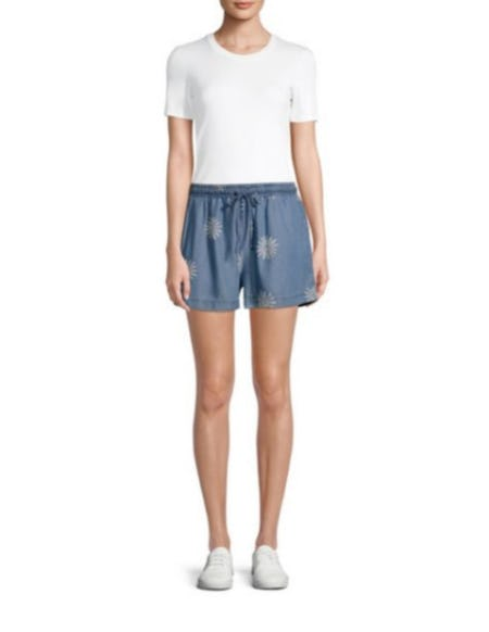 Splendid Daisy-Print Palazzo Denim Shorts from Saks Fifth Avenue