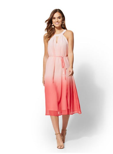 Pink Ombre Halter Midi Dress from New York & Company