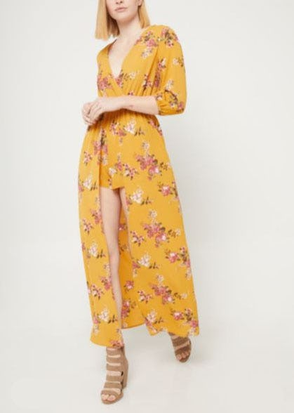 Dark Yellow Floral Print Maxi Romper from rue21