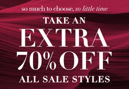 Take an Extra 70% Off All Sale Styles