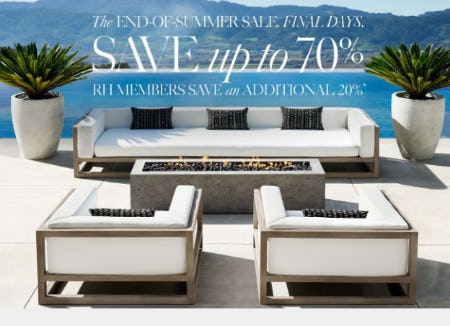 Up to 70% Off The End-Of-Summer Sale from Restoration Hardware