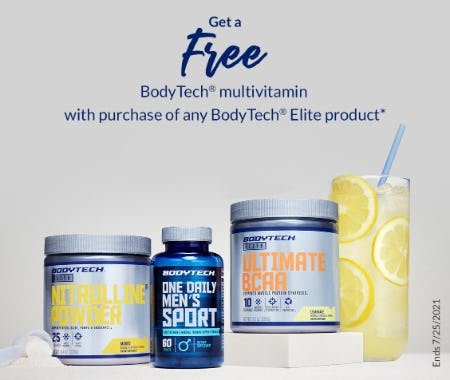 Free BodyTech Multivitamin with Purchase of Any BodyTech Elite Product