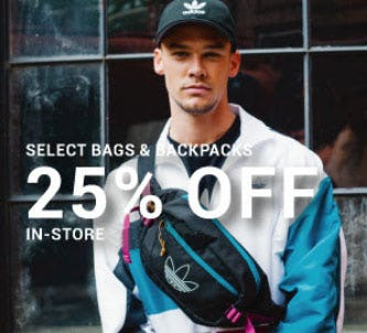 25% Off Select Bags & Backpacks