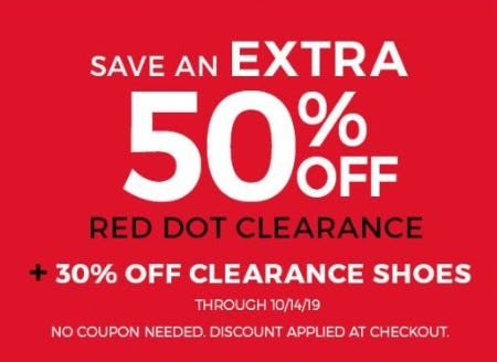 Extra 50% Off Red Dot Clearance + 30% Off Clearance Shoes from Stein Mart