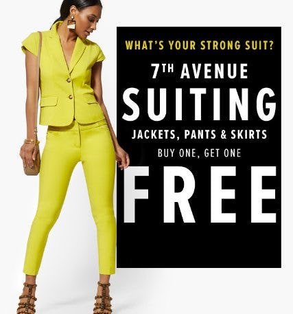 7th Avenue Suiting Buy One, Get One Free from New York & Company