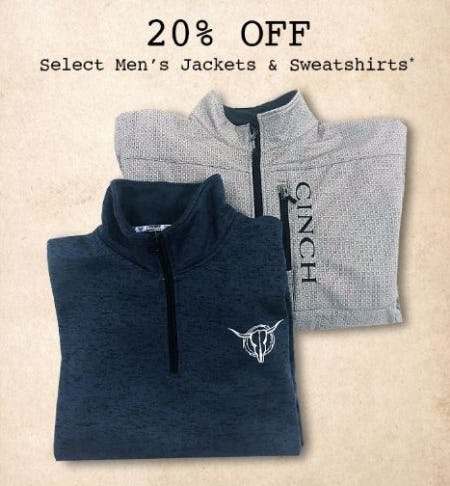 20% Off Select Men's Jackets & Sweatshirts from Boot Barn