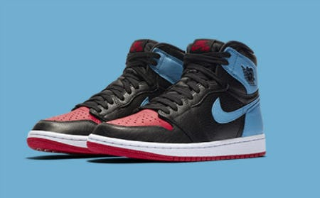 "Women's Jordan Retro 1 High OG ""NC to CHI"" from Champs Sports"