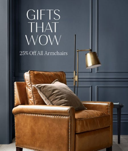 25% Off All Armchairs from Pottery Barn
