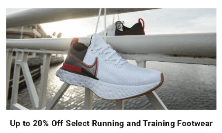 Up to 20% Off Select Running and Training Footwear