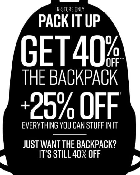 40% Off Backpacks In-Store