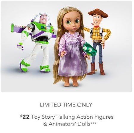 $22 Toy Story Talking Action Figures and Animators' Dolls from Disney Store