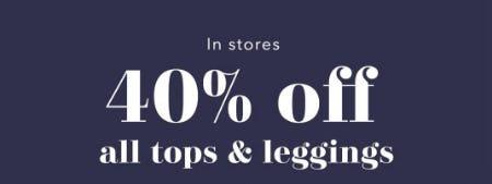40% Off All Tops & Leggings