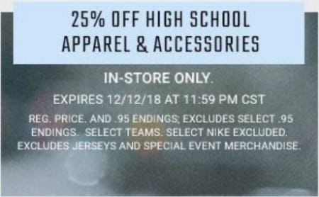 25% Off High School Apparel & Accessories from Hibbett Sports