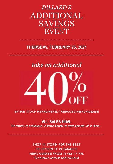 Take an Additional 40% Off Entire Stock Permanently Reduced Merchandise from Dillard's