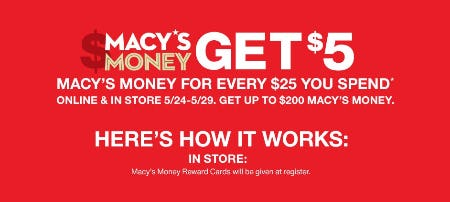 Get $5 Macy's Money for Every $25 You Spend