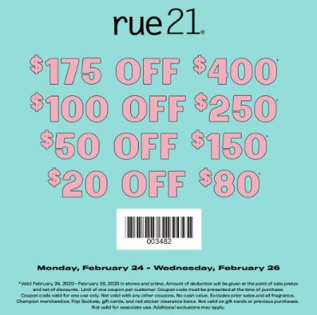 Rue21 Tiered Coupon from rue21