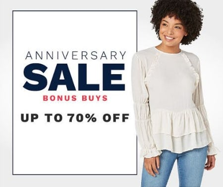 Anniversary Sale Bonus Buys up to 70% Off