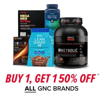 Buy 1, Get 1 50% Off on All GNC Brands from GNC
