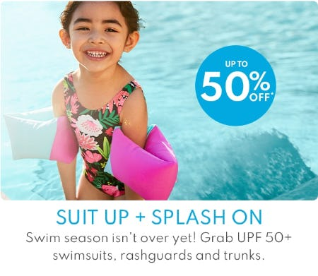 Up to 50% Off Swimsuits, Rashguards & Trunks from Carter's