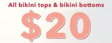 $20 All Bikini Tops & Bikini Bottoms from Aerie