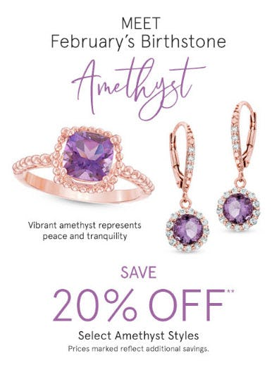 20% Off Select Amethyst Styles from Zales Jewelers