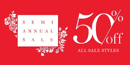 Semi Annual Sale: 50% Off