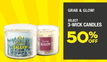 Select 3-Wick Candles 50% Off