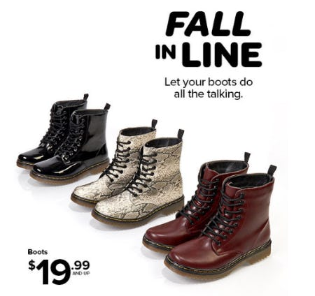 Boots $19.99 and Up from Rainbow