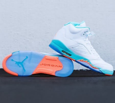 "The Air Jordan Kid's Retro 5 ""Light Aqua"" from City Gear"